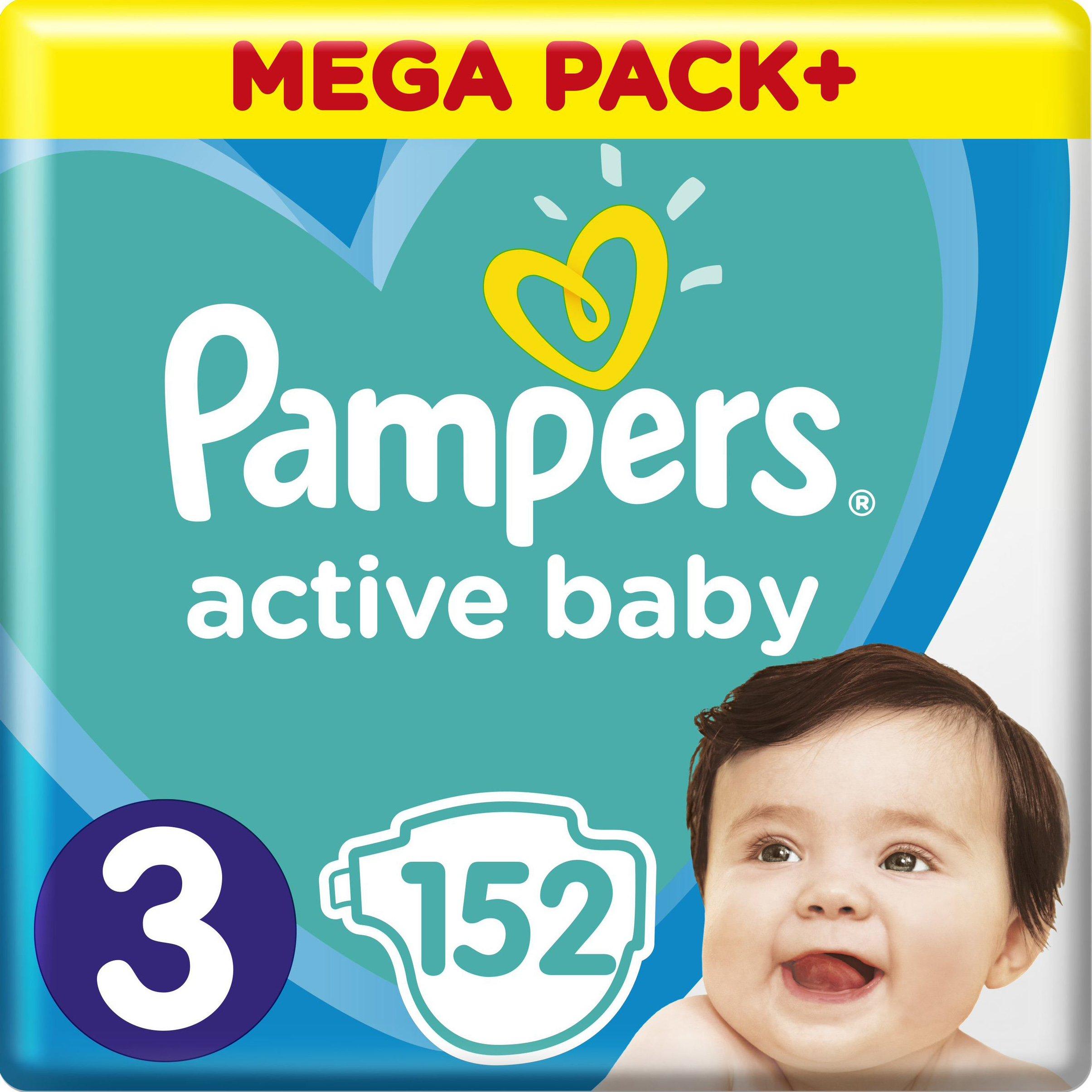 Pampers Active Baby Πάνες Mega Pack Νο3 (6-10 kg), 152 Πάνες μητέρα παιδί   περιποίηση για το μωρό   πάνες για το μωρό