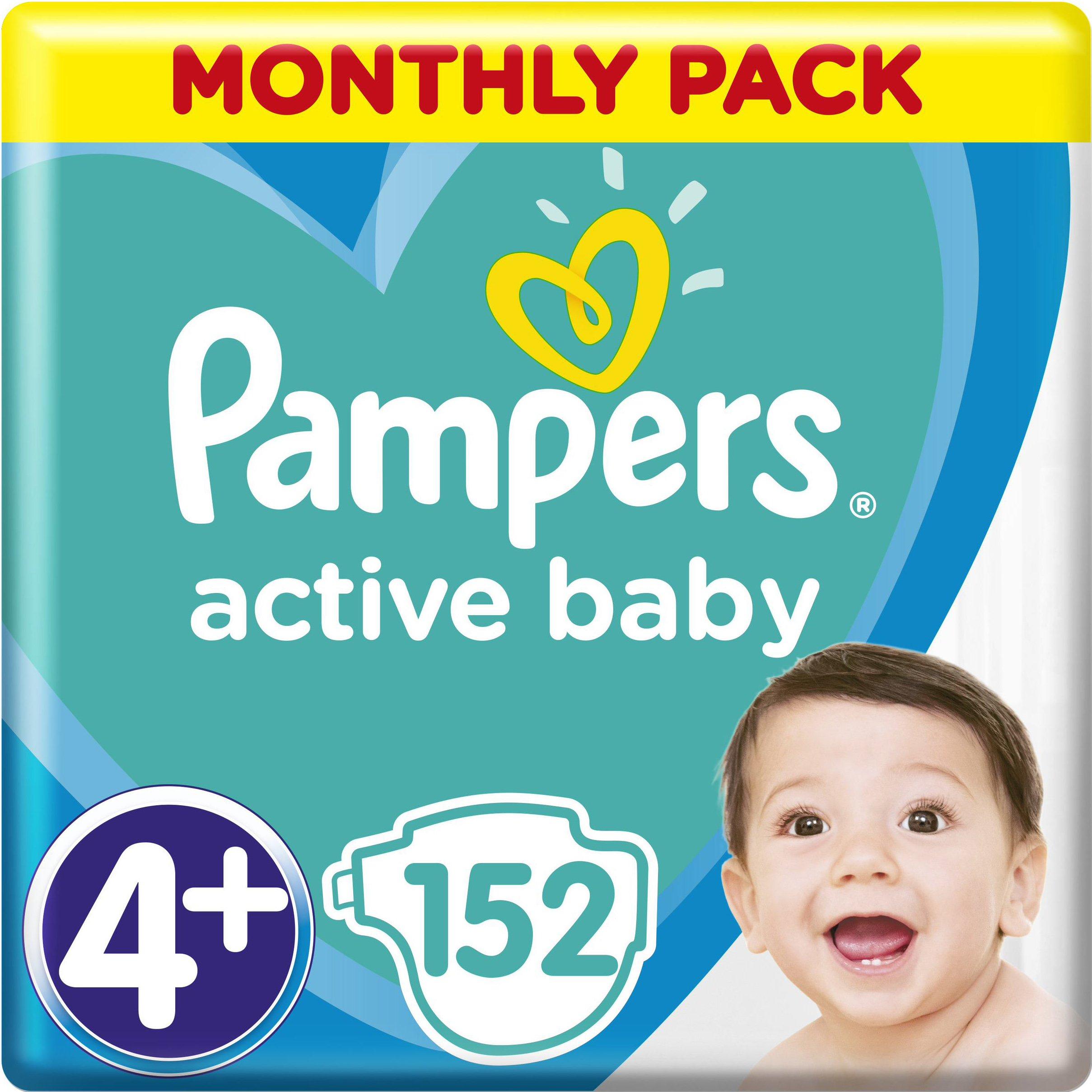 Pampers Active Baby Πάνες Monthly Pack No 4+ (10-15 kg), 152 Πάνες, μόνο 0,26€ / μητέρα παιδί   περιποίηση για το μωρό   πάνες για το μωρό