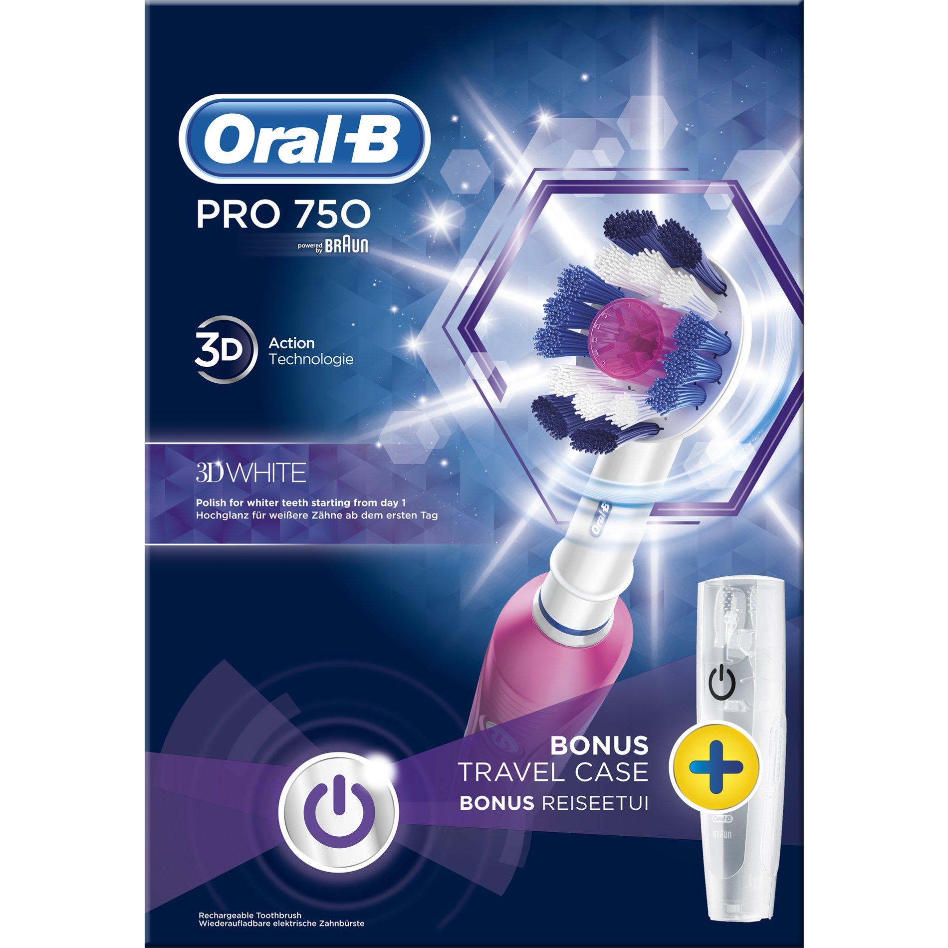 Oral-B Pro 750 3D White Special Edition Ηλεκτρική Οδοντόβουρτσα για Βαθύ Καθαρισμό σε Ροζ Χρώμα