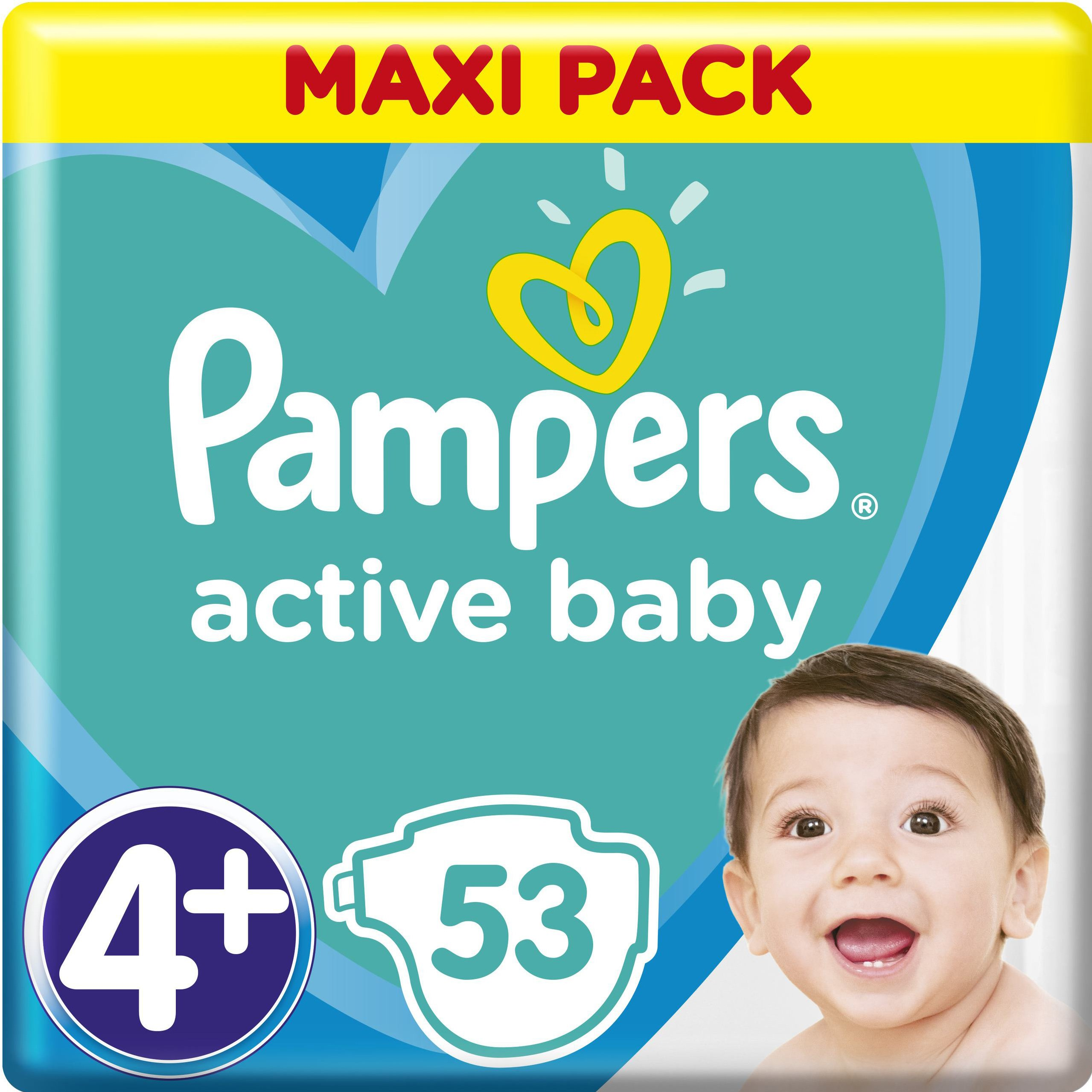 Pampers Active Baby Πάνες Maxi Pack No4+ (10-15 kg), 53 Πάνες μητέρα παιδί   περιποίηση για το μωρό   πάνες για το μωρό