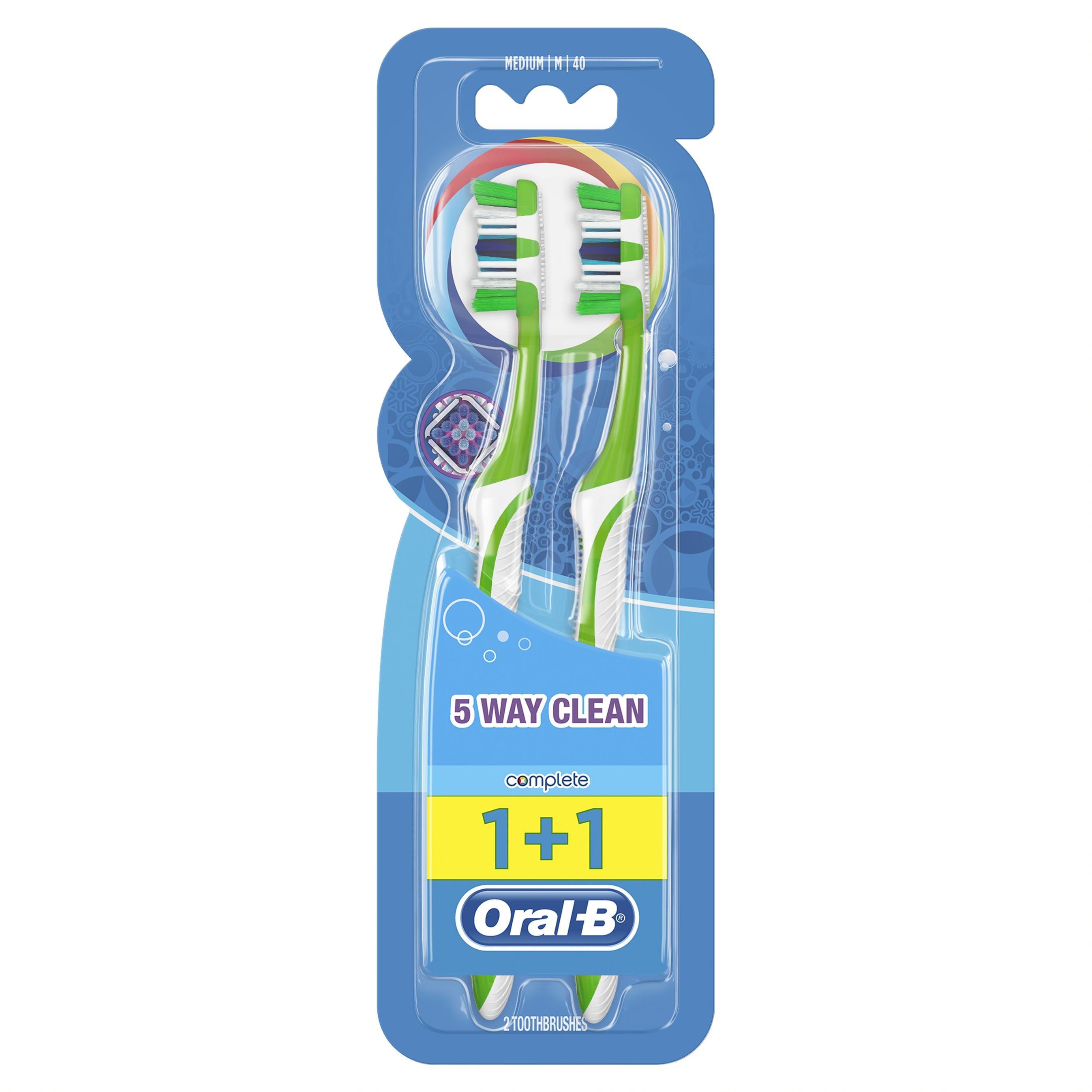 Oral-B Complete 5 Way Clean Οδοντόβουρτσα 40 Μέτρια 1+1 δώρο – Μπλε – Πράσινο