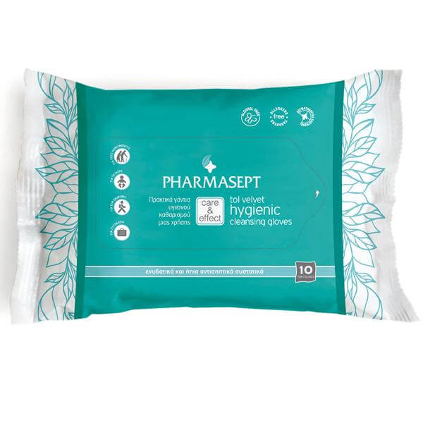 Tol Velvet Hygienic Cleansing Gloves 10τεμάχια – Pharmasept,Υγρά Γάντια μίας Χρήσης για Καθαρισμό & Υγιεινή Σώματος Χωρίς Νερό