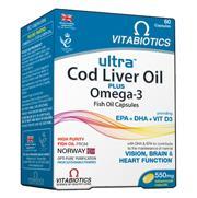 Vitabiotics Ultra Cod Liver Oil Plus Omega 3 Συνδυασμός Ωμέγα-3 Ιχθυελαίων Και Μουρουνέλαιου 60caps