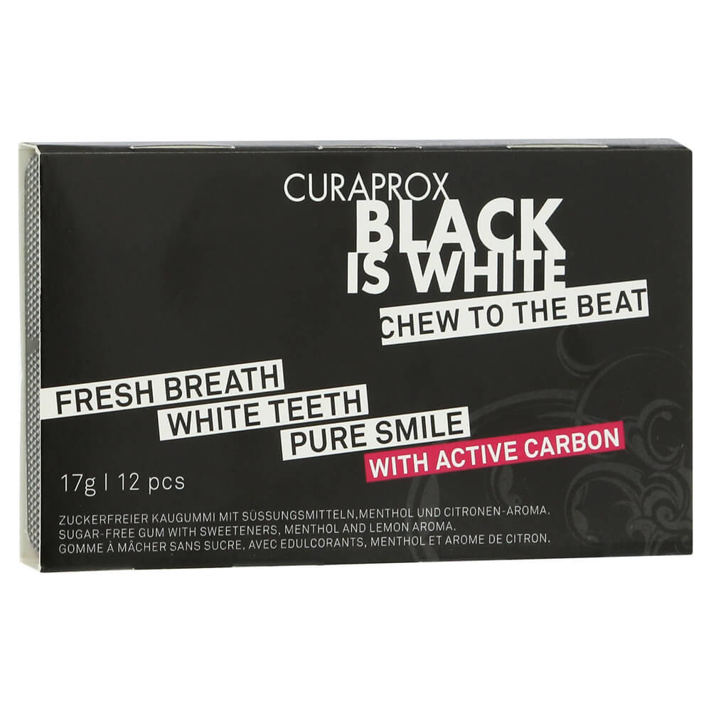 Curaprox Black is White Chew to the Beat Τσίχλα για Λεύκανση των Δοντιών με Ενεργό Άνθρακα & Γεύση Λεμόνι – Μέντα 12 Τεμάχια