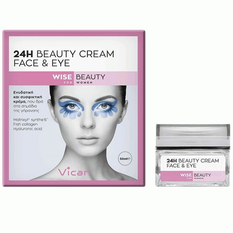 Vican Wise Beauty 24h Beauty Cream Face & Eye Ενυδατική & Συσφιγκτική Κρέμα Προσώπου-Ματιών, που Δρα στα Σημάδια Γήρανσης 50ml