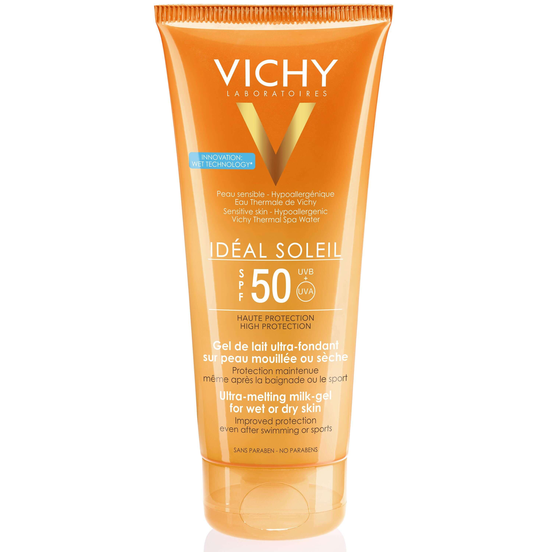 Vichy Ideal Soleil Spf50 Απαλό Αντηλιακό Γαλάκτωμα Gel για τη Προστασία της Νωπής ή Στεγνής Επιδερμίδας του Σώματος 200ml