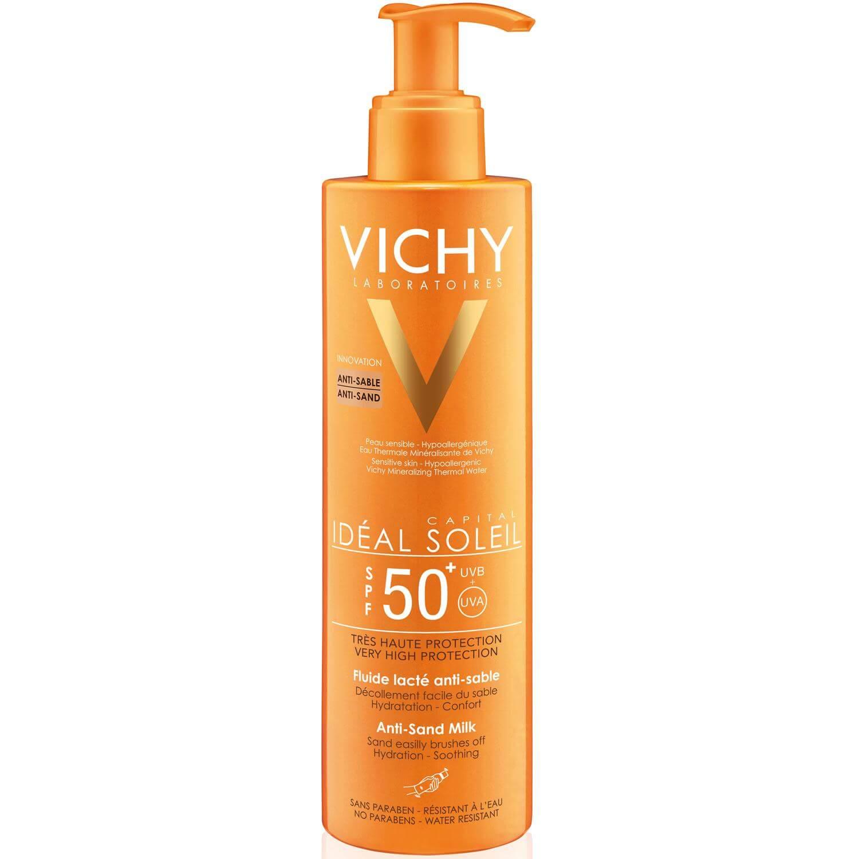 Vichy Ideal Soleil Anti Sand Spf50+ Αντηλιακό Γαλάκτωμα Πολύ Υψηλής Προστασίας για Ευαίσθητη Επιδερμίδα Προσώπου Σώματος 200ml