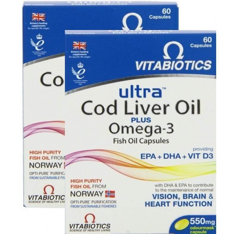 Vitabiotics Ultra Cod Liver Oil Plus Omega 3 Συνδυασμός Ωμέγα-3 Ιχθυελαίων Και Μουρουνέλαιου 60caps Πακέτο 1+1 Δώρο
