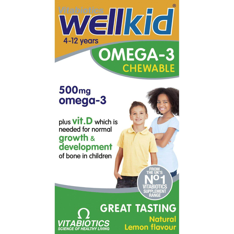 Vitabiotics Wellkid Omega 3 500mg Συμπλήρωμα Διατροφής με Ωμέγα 3 για Παιδιά, από 4-12 Ετών, με Γεύση Λεμόνι, 60 chew.tabs