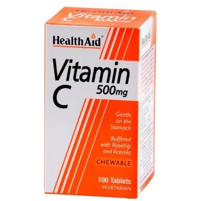 Health Aid Vitamin C 500mg Μασώμενη Βιταμίνη C Με Αντιοξειδωτική Δράση 100 chew. tabs