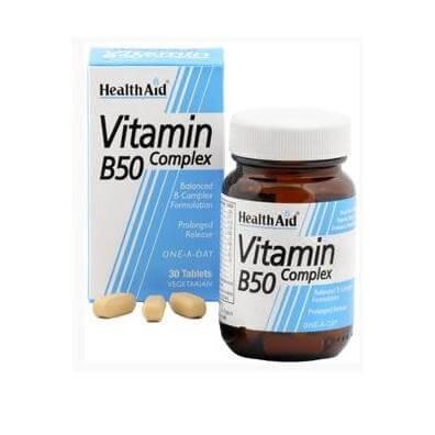Health Aid Βιταμινη B 50 Complex Σύμπλεγμα Βιταμινών Β 30tabs