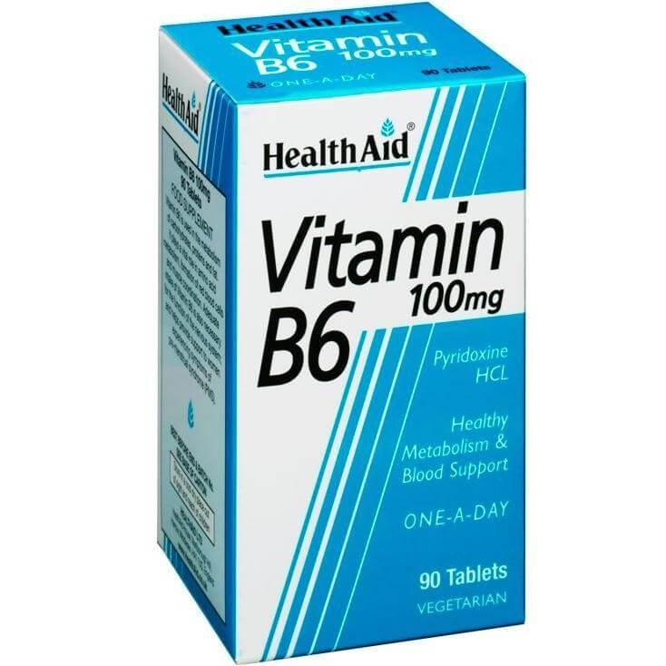 Health Aid Vitamin B6 100mg Συμπλήρωμα Διατροφής Κατάλληλο Για Το Μεταβολισμό Των Υδατανθράκων, Λιπών & Πρωτεϊνών 90tabs