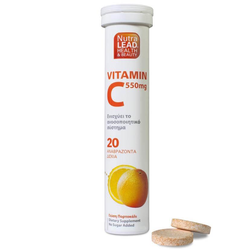 Nutralead Βιταμίνη C 550mg Με Γεύση Πορτοκάλι 20 Effer.Tabs