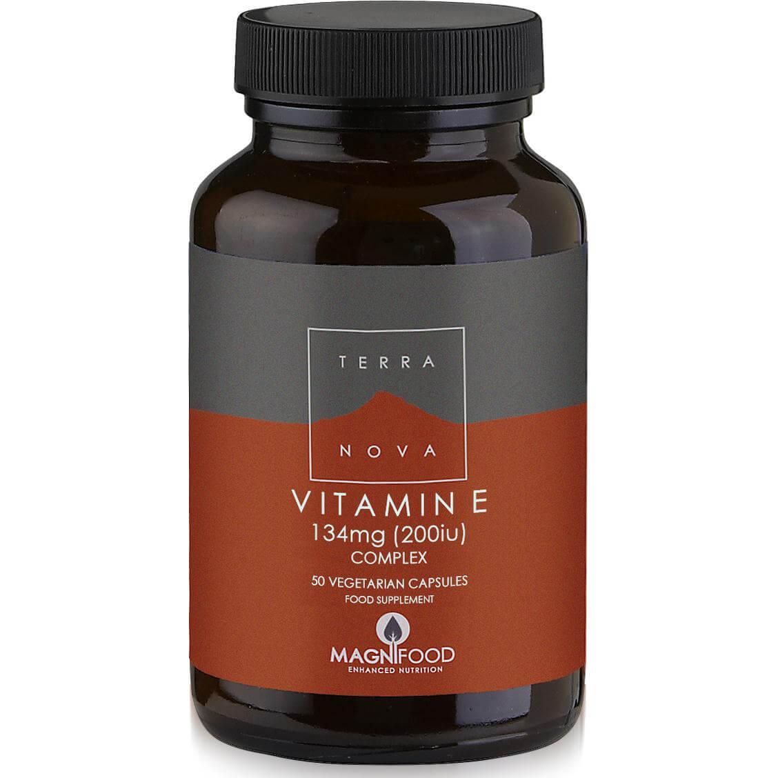 Terranova Vitamin E 200iu 134mg Complex Μοναδική Σύνθεση Βιταμίνης E Φυτικής Προέλευσης με Υπερτροφές 50veg.caps