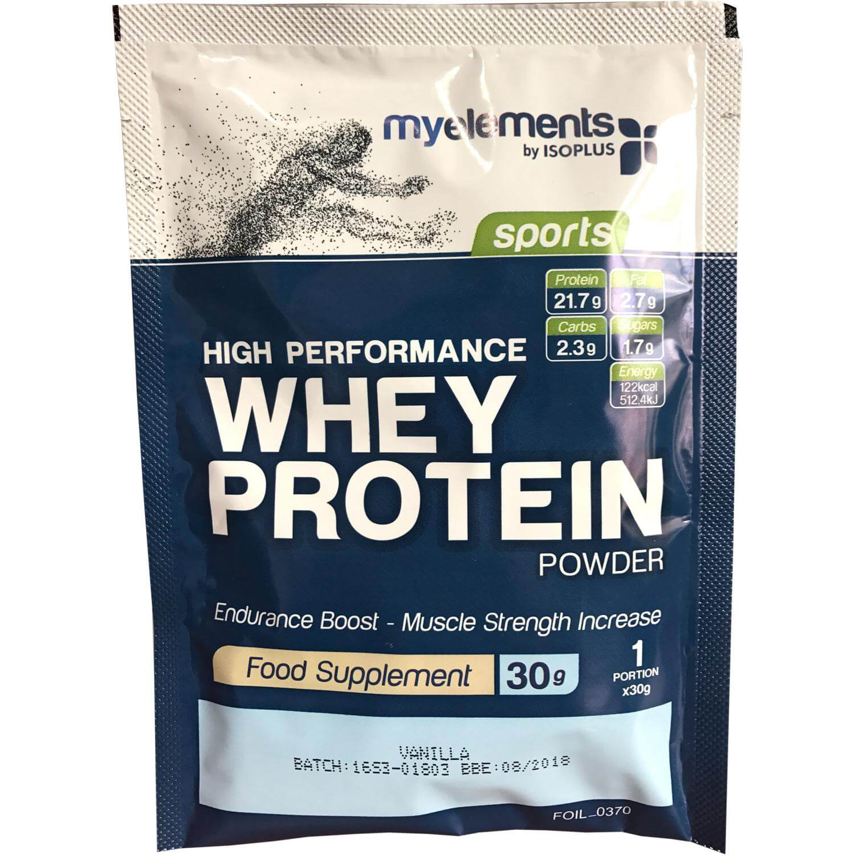 MyElements Sports High Performance Whey Protein Powder Συμπλήρωμα Διατροφής Υψηλής Ισχύος Πρωτεΐνη από 100% Ορό Γάλακτος 30gr – Vanilla