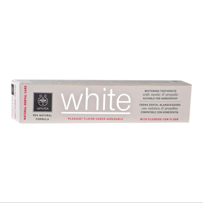 Apivita Natural Dental Care White Λευκαντική Οδοντόκρεμα Με Μαστίχα & Πρόπολη75ml