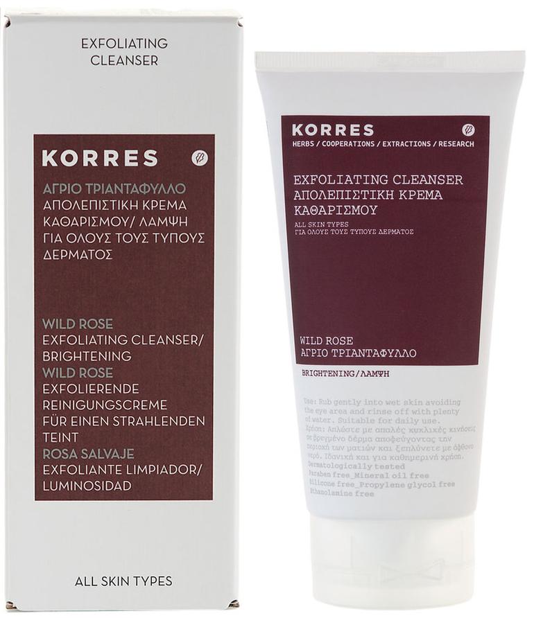 Korres Άγριο Τριαντάφυλλο Απολεπιστική Κρέμα Καθαρισμού & Λάμψης Όλοι οι Τύποι Δέρματος150ml