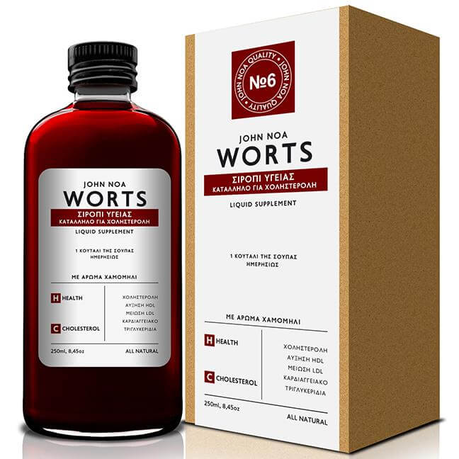John Noa Worts Σιρόπι Υγείας Κατάλληλο για Χοληστερόλη με Άρωμα Χαμομήλι 250ml