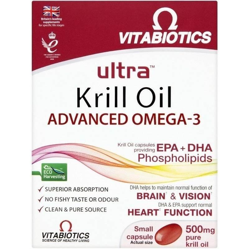 Vitabiotics Ultra Red Krill Oil Super Strength 500mg Καθαρό Λάδι Κριλ με Ωμέγα-3 για Υγιή Καρδιά, Εγκέφαλο & Μάτια 30caps