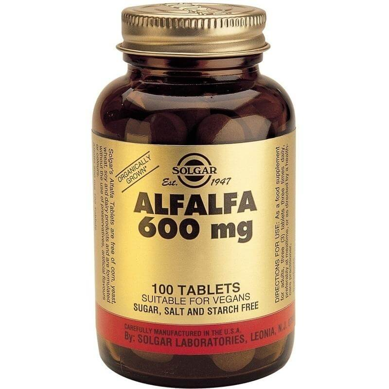 Solgar Alfalfa 600mg Συμπλήρωμα Διατροφής, Φυσική Πηγή Βιταμίνης Κ 100 tablets