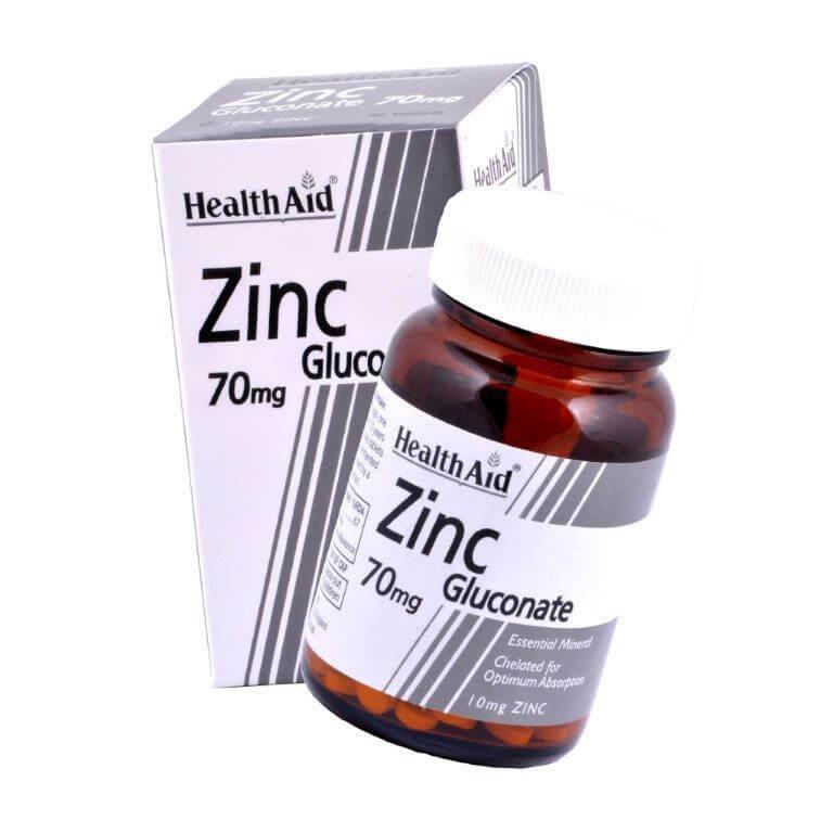Health Aid Zinc Gluconate Ψευδάργυρος Γλυκονικός 70mg 90vegtabs